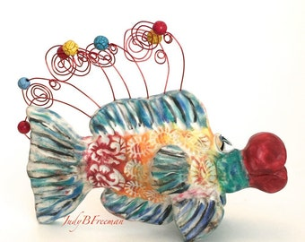Tabletop Fish Sculpture Polymer Clay Handmade Decorative Made to Order Whimsical  FS00040