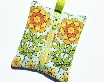 FREE SHIPPING UPGRADE with minimum -  Tiny zipper pouch / earbud case / earbud pouch /coin pouch | Sunflowers