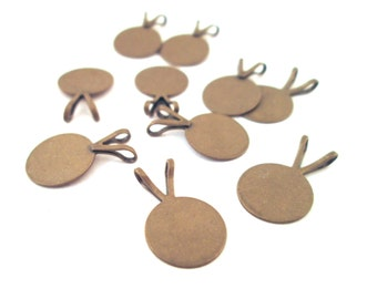 10 brass plated 10mm pendant pad bails for gluing on cabochons