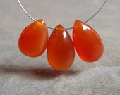 SALE - AAA Carnelian Gemstone Smooth Pear Briolette Beads - 11-12mm - 3 Beads
