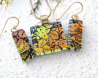 Golden Leaves Necklace & Earrings Set, Dichroic Jewelry, Gold Necklace, Gold Filled Earrings, Fused Glass Jewelry, Necklace Set, 070916ps100