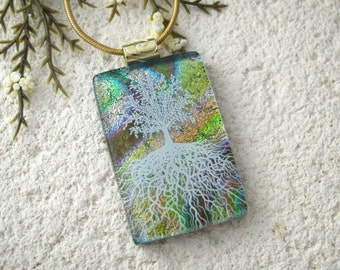 Tree of Life, Fused Glass Jewelry, Dichroic Pendant, Dichroic Jewelry, Rooted Tree, Gold Green Rainbow, Nature Tree, Gold Chain,070916p103