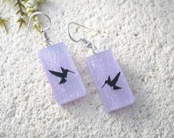 Lavender Hummingbird Earrings, Dichroic Glass Earrings, Dichroic Jewelry, Glass Jewelry, Dangle Drop Earrings,Sterling Silver,  073116e100
