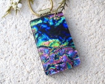 Pink Blue Green Necklace, Rainbow Necklace, Fused Glass Jewelry, Dichroic Glass Necklace, Dichroic Pendant, Dichroic Jewelry,  081616p100