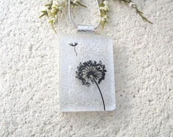 Dandelion Wish Necklace, Dichroic Glass Pendant, Fused Glass Jewelry, Dandelion Pendant, Dichroic Jewelry, White Silver Pendant,  082316p101
