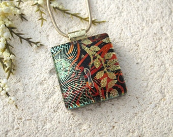 Golden Copper Red, Dichroic Glass Necklace, Dichroic Jewelry, Glass Jewelry, Fused Glass Jewelry, Gold Necklace, Glass Pendant,  102315p104