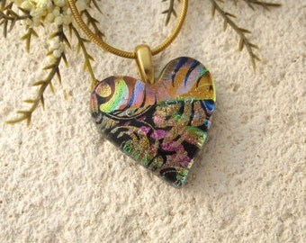 Rainbow Black Heart Necklace, Dichroic Jewelry, Fused Glass Pendant, Dichroic Necklace, Fused Glass Jewelry, Gold Necklace, 051916p108