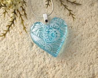 Heart Necklace, Aqua Blue Heart Pendant, Heart, Glass Jewelry, Fused Glass Jewelry, Necklace Included, Glass Heart,Aqua Silver, 052316p101