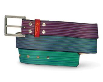Purple Haze Leather Belt, Purple Leather Belt, Blue Leather Belt, Leather Belt