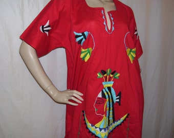 Red Maxi Caftan Egyptian Cleopatra Embroidery Queen of de Nile Egypt Costume Dress Halloween Party Cruise Resort Dress Adult 46 chest M L