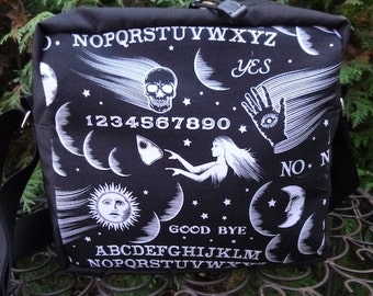 Ouija Board shoulder bag, zippered cross body bag, medium sized purse,  The Raccoon