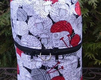 Sheep large knitting bag, drawstring bag, knitting in public bag, large project bag, Skeins of Sheep, Large Kipster