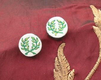 SCA Order of the Laurel handpainted leather stud earrings