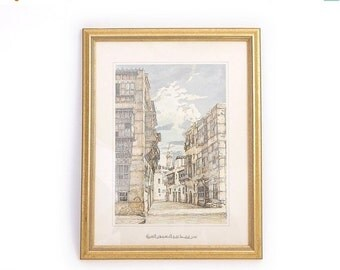 SALE Vintage Framed Saudi Arabian Lithograph - Al-Balad / Old Jeddah Architecture Print- An Alley Leading from the Souk to the Ma' Mer Mosqu