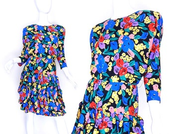 Sz 4 Floral Silk 80s Dress - Vintage Women's Batwing Sleeve Ruffled Flounce Skirt Colorful Flower Print Long Sleeve Spring Dress