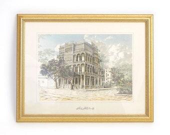 Vintage Framed Saudi Arabian Lithograph - Sharbatly House Jeddah - Al-Balad / Old Jeddah Architecture Art Print Wall Decor - Gold Framed