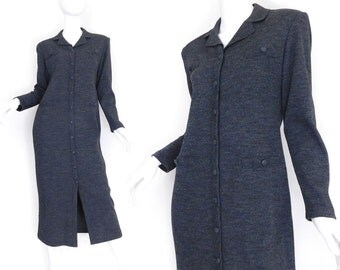 Sz S 90s Charcoal Knit Maxi Dress - Women's Minimalist Heathered Gray Long Sleeve Button Up Sag Harbor Collared Long Column Dress