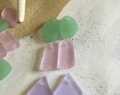 6pc sea glass pendant ~ beach glass drilled beads~ cultured sea glass ~ seaglass mixed lot~ Freeform recycled glass ~pastel glass mix~ beads