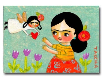 ORIGINAL acrylic painting FRIDA KAHLO with wee frida angel folk art painting by tascha