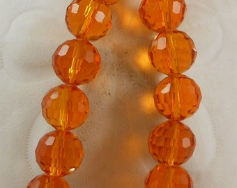Crystal Beads 12mm Faceted Round Disco Balls Orange (Qty 6) PH-DB12-ORG