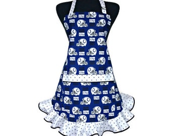 Indianapolis Colts apron for women , Retro style ruffle , fully adjustable with pockets , Football Kitchen decor / Tailgating