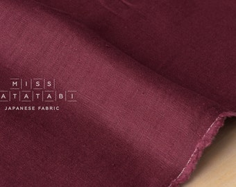 Japanese Fabric 100% brushed linen - ruby -  50cm
