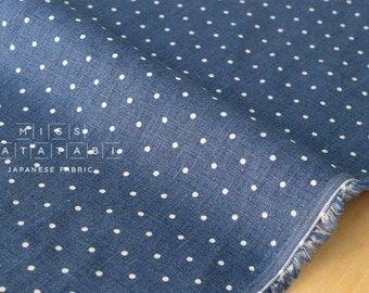 Japanese Kei Fabric pindot linen - denim blue - 50cm