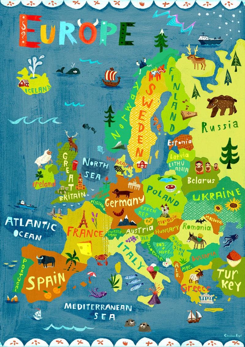 Europe Map Illustration / Digital print poster / Kids Room