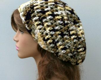 Slouchy beanie, spring hat, Hippie short snood, small dread beanie, Tam hat, open stitch crochet beanie hat, summer beanie, woman beanie