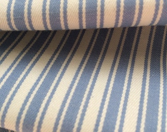 Chambray blue ticking stripe fabric - one yard