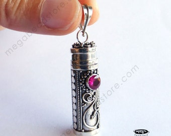 Red Ruby Treasure Pendant Bali Sterling Silver Pendant - P25