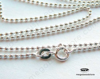 1.5mm Bead Chain 925 Sterling Silver Ball Chain Necklace FC22 18 20 24 30 36 40 inch