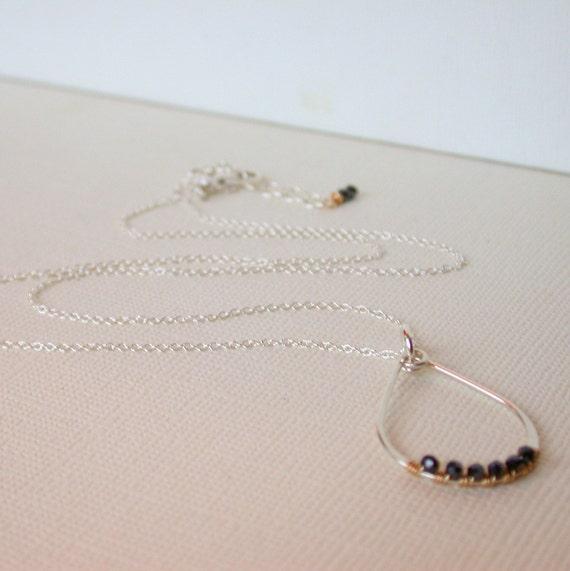 Sale. Wire wrapped Teardrop Pendant. Black Spinel Teardrop Necklace. Hammered Necklace. Hammered Teardrop Pendant..  Hammered Pendant.