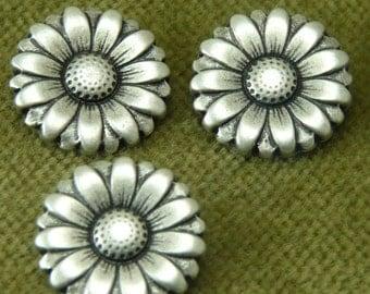 Double Daisy Sunflower Antique Silver  Design Buttons    C-G24
