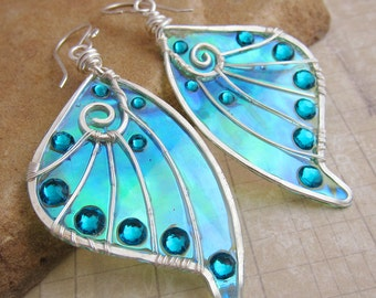 Sihaya Designs Faery Wing Earrings - Sprightly Sylph - Iridescent Fairy Wing Jewelry