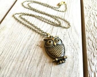 Owl Necklace, Owl Jewelry, Brass Owl Necklace, Owl Charm, Necklace with Owl Charm, Necklace, Necklace for friend, Owl Jewelry