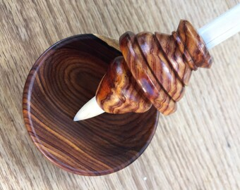 SOLD watch for another creation Cocobolo Root, Signature Series Support Spindle and Bowl, Made by Heavenly Handspinning