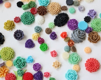 Mixed bag cabochon resin flowers