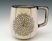 Large Ceramic Mug Floral Pattern Pottery Cup