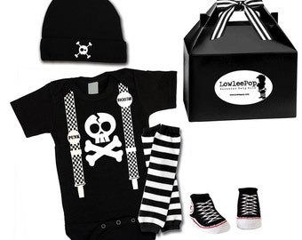 Baby Punk Rock Gift Set - Skull Suspenders Onesie, hat, Sneaker booties & leg warmers Kit