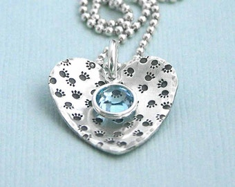Paw Prints on My Heart - Sterling Silver Hand Stamped Necklace - Dog Lover Gift