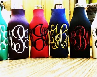 Set of 6 Monogrammed Personalized embroidered Long Neck Bottle Drink insulators