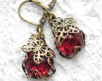 Filigree Butterfly Dark Rose Glass Jewel Dangle Earrings