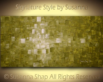 Green Painting ORIGINAL Green Abstract Painting Large Modern Wall Art Textured Palette Knife Acrylic Olive Green Canvas 48x24 by Susanna