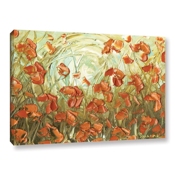 PRINT on Canvas Orange Poppy Landscape Modern Abstract Fine Art Aqua Amber Flowers Home Decor Wall Art Large Floral ~Susanna