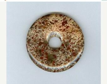 SALE 40mm Mahogany Jasper PI Donut Pendant  1122B
