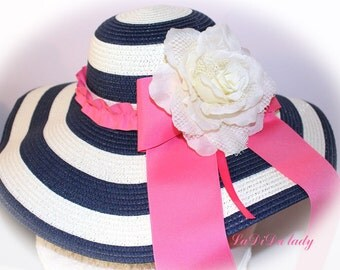 Monogrammed Floppy Hats Navy & White Stripe.  Bride, Kentrucky Derby, Carolina Cup, Beach, Honeymoon, Wedding CUSTOMIZED !