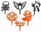 24 x Retro Halloween Cut-Out Picks