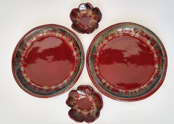 Ceramic Dish - Ceramic Bowl - Set of 2 - Stoneware - Plate - Bowl - Dipping Bowl - Handmade Pottery - Stoneware Dishes - Stoneware Bowl