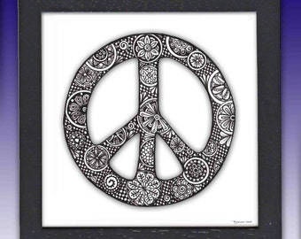 Framed Peace Sign print